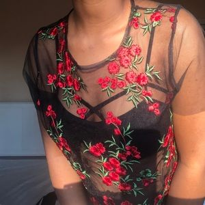 See-Through Mesh Top with Floral Embroidery